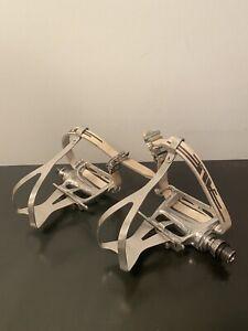 Vintage Campagnolo Croce D Aune Pedals Clips NOS Ale Leather Straps