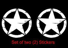 Two (2) Custom Vinyl Distressed Willys Jeep Army Star Car Window Decal / Sticker
