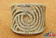 Ladies Italian .925 Sterling Silver CZ Ring Fancy Celebrity Designer Spiral Kim