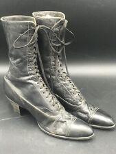 Antique Victorian/Edwardian Ladies Black Leather Lace Up Boots