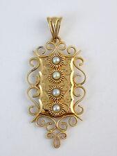 Très beau pendentif reliquaire ancien cassolette en or 18k et perles de culture