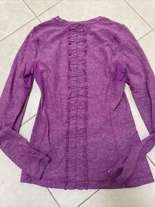 Lululemon Run Dash Long-sleeve, Running, Size 8 Heathered Purple Pink Ruffle!