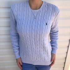 Ralph Lauren Sport Golf Knit Sweater Crewneck Lavender Womens Medium 100% Cotton