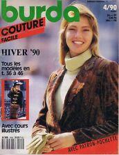 ▬►Magazine Couture Tricot BURDA COUTURE FACILE Complet Patron Hiver Octobre 1990