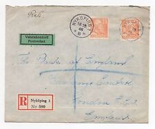 1946 SWEDEN Registered Air Mail Cover NYKÖPING To LONDON GB Bank of England