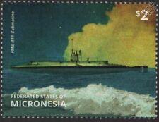 WWI Royal Navy HMS B11 B-Class Vickers Submarine Stamp (2015 Micronesia)
