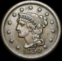1850 Braided Hair Large Cent Penny ---- Nice Type Coin ---- #H415