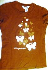 Aeropostale Brown Butterfly Baby Tee Size XS Cap Sleeves