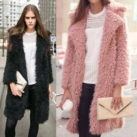 Women Lady's Faux Fur Wool Coat Fashion Long Sleeve Casual Design Winter Outwear