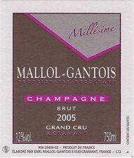 6 BOTTLES CHAMPAGNE GRAND CRU MILLESIME 2012 MALLOL GANTOIS CRAMANT B de B