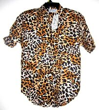 NEXT MOVE Brown Leopard Retro Rockabilly Vtg Tunic Blouse Top Shirt Women M NWT