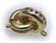 Broche de perlas Oro real 333 Circonia Cadena de piedras Cierre 8kt Candado