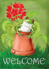 New listing New 12.5 X 18 Toland Garden Welcome Flag Potted Frog - So Cute