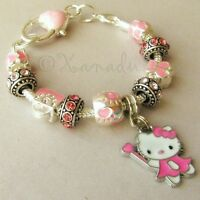 Pink Hello Kitty Fairy Princess European Charm Bracelet With Pink Crystal Beads