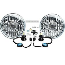 "7"" LED Crystal Clear Projector Headlight 6K 4000Lm H4 Light Bulb Headlamp Pair"