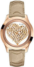 New GUESS Women Rose Gold-tone Crystal Heart Rose Gold leather Watch U0113L3 NWB