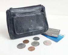 Genuine Leather Men Women Card Coin Change Flap Pocket Key Ring Holder Purse Zip