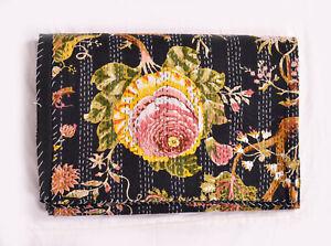 Indian HandBlock Cotton Queen Floral Kantha Quilt Throw Kantha Bedding Bedspread