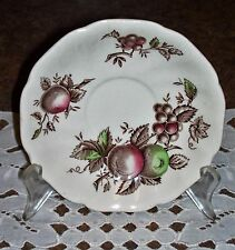 Johnson Bros HARVEST TIME China Saucer Hand Engraved Fruit Brown Made in England