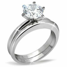 1.28 Ct Silver Stainless Steel Round CZ Women's Wedding Ring Sets Size 5-10