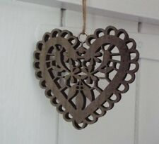 Lovely, filigree wooden heart decoration in white or taupe - Weddings