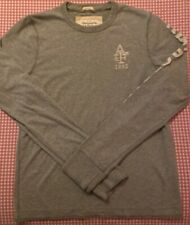 Abercrombie & Fitch Gray Spellout Henley Long Sleeve Muscle Shirt - Size Medium