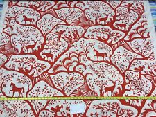 "10Y DURALEE THOMAS PAUL ""FOREST"" MODERN TOILE ANIMALS RED #1583"