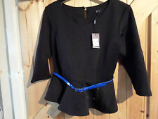 "New Black Formal Party Top Size 12 Chest 36""  M & Co Petite Dolce Vita Blue Belt"