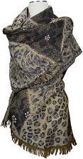 Pashmina Schal 100% Wolle wool scarf stole écharpe foulard  Animalprint Grau
