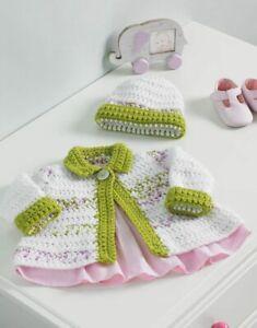 5233 Crochet Chunky Baby Jacket & Hat Pattern Hayfield / Sirdar
