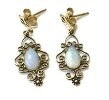 Vintage Scroll Ornate 14K Yellow Gold Opal Drop Dangle  Pierced Earrings