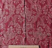 Antique French 19thC Jacquard Ethnic Cotton Maroon Home Dec Fabric c1880