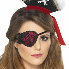Ladies Pirate Eyepatch Sexy Lace Black Red Fancy Dress Accessory Smiffys 20805