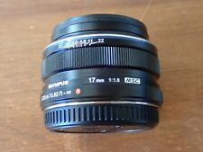 MINT Olympus M.Zuiko 17mm Black f/1.8 Micro Four Thirds Prime Lens w/Caps f1.8