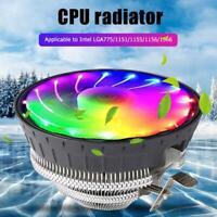 New RGB LED Heatsink Cooling Fan Silent CPU Cooler for Intel LGA775/1151/1155