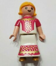 PLAYMOBIL CHILD GIRL FIGURE BLOND 1998 GEOBRA WHITE DRESS GOLD SHOES PINK