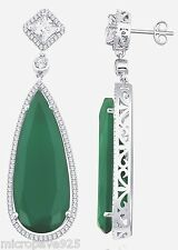 Created Green Emerald Pears Shaped Designer Dangle Earrings With Pave Setting