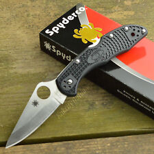 Spyderco Delica 4 VG10 Plain Edge Black FRN Folding Knife C11PBK