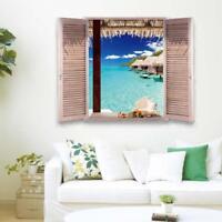 3D Ocean View Islands Tropical Window Wall Decals PVC Waterproof Stickers Decor