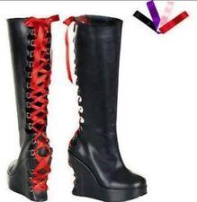 Demonia Platform Corset Boots Womens Blk Pu Goth Punk Cyber NWOB SZ 7 Misfit