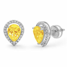 2.52ct Pear Round Brilliant Cut Halo Yellow CZ Stud Earrings Real 14k White Gold