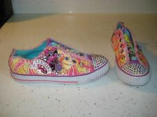 SKECHERS GIRLS ATHLETIC SHOES SIZE 2.5 PINK YELLOW BLING