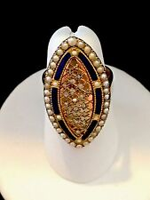 Victorian Antique 14k Yellow Gold Enamel Rose Cut Diamond Marquis Shape Ring