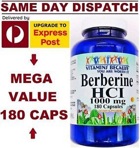 VBecause Berberine 1000mg 180 Caps DOUBLE STRENGTH Heart Health PREMIUM GRADE!