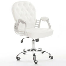 White Swivel Office Chair Faux PU Leather Padded Executive Computer Desk Chair