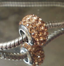 Edelstahl Pave Bead Element Glitzer Strass Fb Champagner Silber für Armband 1620