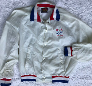 Vintage 1988 OLYMPICS Satin Mens LG USA National Team USA Made Bomber Jacket