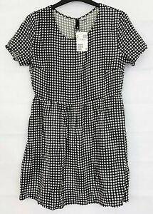 H&M DIVIDED Womens Black & White Check Dress Size 12 NEW
