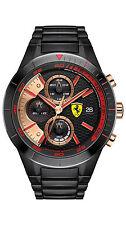 Ferrari Red Rev Evo Chrono Black Stainless Steel Band Quartz Men's Watch 830305