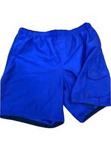 NIKE Mens Size XXL Swim Trunks Board Shorts Lined Blue Pockets